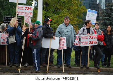 TORONTO, CANADA: November 2 2017 - Large Crowds Of People, Education Reform Rally At Queens Park, Political Crisis Protest With Students Who Cannot Afford University And College Studies, Education