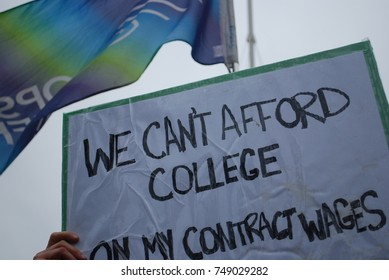 "TORONTO, CANADA: November 2 2017 - ""We Can't Afford College"" Sign, Rally At Queens Park, Government Building Protest With Students Who Cannot Afford University And College, Politics, Education Problem"