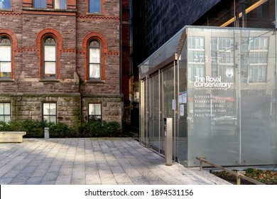 Toronto, Canada - November 20, 2020: One of the entrances to the Royal Conservatory of Music in Toronto. The Royal Conservatory is a non-profit music education institution and performance venue.