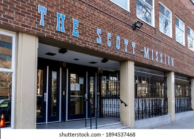 Toronto, Canada - November 20, 2020: The Scott Mission on Spadina Avenue in Toronto, Canada. The Scott Mission is a Christian, non-denominational urban mission.