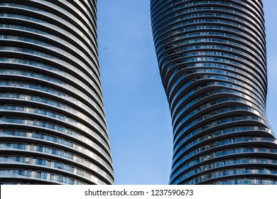 Toronto, CANADA - November 21, 2018: Twin towers of Absolute Condos in, these high-rise Mississauga condos were built in 2007 by Fernbrook Homes. Located in Mississauga's City Centre neighbourhood