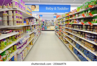 TORONTO, CANADA - NOVEMBER 22, 2014: Baby and toddler food selection in a supermarket in Toronto, Canada.