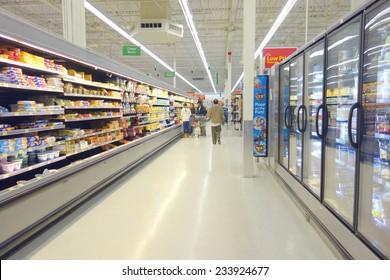 TORONTO, CANADA - NOVEMBER 22, 2014: A supermarket aisle in Toronto, Canada.