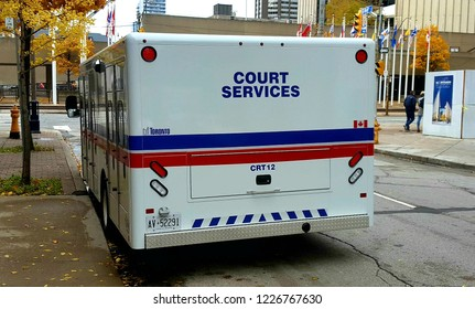 TORONTO, CANADA - NOVEMBER 3, 2018: A Court Services vehicle in a street in Toronto.