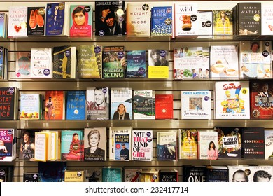 TORONTO, CANADA - NOVEMBER 8, 2014: Novels and fiction on display in an Indigo bookstore. Indigo Books and Music Inc is one of the major Canadian retail bookstore chains.