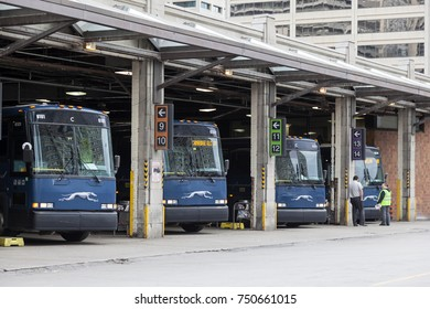 Toronto, Canada - Oct 11, 2017: Grehound buses at the city terminal in Toronto. Province of Ontario, Canada