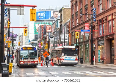 Toronto, Canada - Oct 11, 2017: Yonge Downtown street in the city of Toronto, Canada