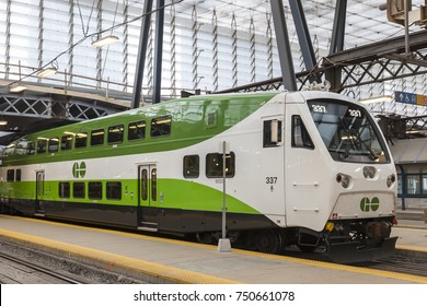 Toronto, Canada - Oct 11, 2017: Bombardier BiLevel Coach Go Transit train at the Union Station in Toronto. Province of Ontario, Canada