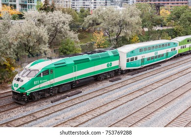 Toronto, Canada - Oct 11, 2017: Go Transit train leaving the city of Toronto. Province of Ontario, Canada
