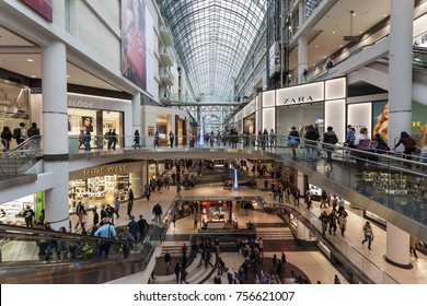 Toronto, Canada - Oct 12, 2017: Interior of the Eaton Centre mall in the city of Toronto, Canada