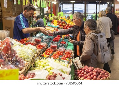 Toronto, Canada - Oct 13, 2017: Fruits and vegatebles stand at the St Lawrence Market in Toronto, Canada