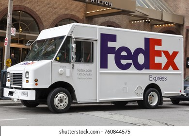 Toronto, Canada - Oct 14, 2017: FedEx delivery truck in the city of Toronto. Province of Ontario, Canada