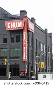 Toronto, Canada - Oct 14, 2017: Building of the CHUM-FM radio station in the city of Toronto. CHUM-FM is a canadian radio station operated by Bell Media