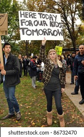 TORONTO, CANADA – OCT 15:  Unidentified demonstrators gathered at Saint James Park in downtown Toronto, for the Toronto version of Occupy Wall Street, Oct. 15 2011 in Toronto.