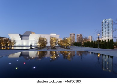 Toronto, Canada - Oct 19, 2017: Exterior view of the Aga Khan Museum at night. Toronto, Canada