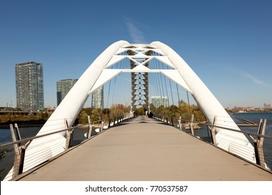 Toronto, Canada - Oct 19, 2017: The Humber Bay Arch Bridge in the city of Toronto, Canada
