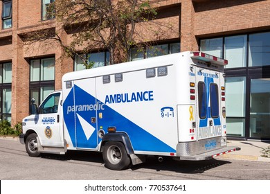 Toronto, Canada - Oct 19, 2017: Paramedic ambulance services vehicle in the city of Toronto, Canada