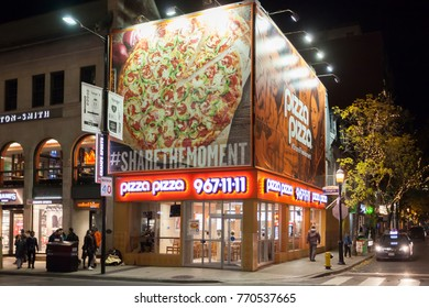 Toronto, Canada - Oct 19, 2017: Canadian fast food franchise restaurant Pizza Pizza in the city of Toronto. Pizza Pizza restaurants are mainly located in the province of Ontario