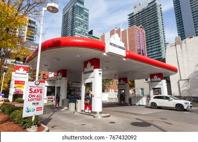 Toronto, Canada - Oct 21, 2017: Petro Canada gas station in the city of Toronto