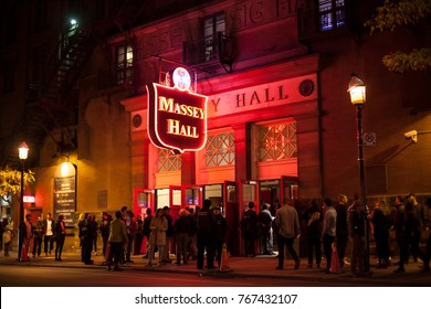 Toronto, Canada - Oct 21, 2017: Exterior of the performing arts theater Massey Hall in the city of Toronto