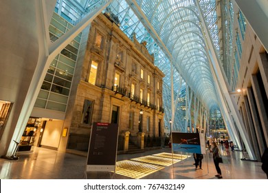 Toronto, Canada - Oct 21, 2017: Interior of the Brookfield Place in Toronto. Brookfield Place is an office and shopping complex downtown in Toronto, Canada