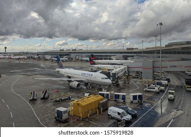 Toronto, Canada - Oct 22, 2019: Airplanes and airport equipment at Toronto International Pearson Airport YYZ (GTAA)