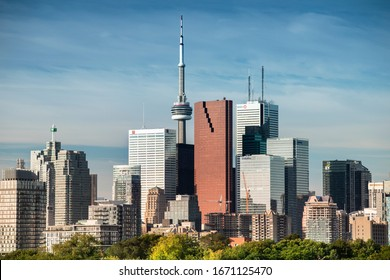 Toronto, Canada - October 10, 2019:  Downtown Toronto Canada cityscape skyline view over Riverdale Park in Ontario, Canada