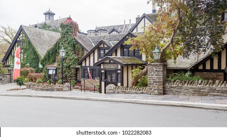 Toronto, Canada - October 14, 2017:  The Old Mill Inn & Spa view from the street in Toronto. Its restaurant has served afternoon tea since it opened in 1914.