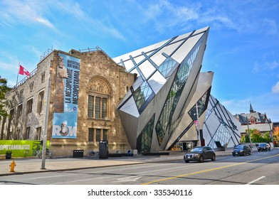 Toronto, Canada - October 15, 2013: View of the Royal Ontario Museum in a sunny day in Toronto on October 15, 2013.