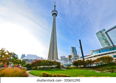 Toronto, Canada - October 15: View of CN Tower from a park in Toronto on October 15, 2013.