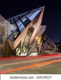 Toronto, Canada - October 16, 2013: The Royal Ontario Museum in Toronto at night on 16th October 2013