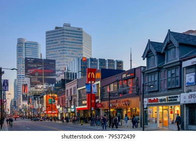 TORONTO, CANADA - OCTOBER 17, 2017:Yonge Street a major route  in Toronto, at sunset