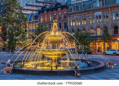 TORONTO, CANADA - OCTOBER 20, 2017:    Dogs Fountain in Berzcy Park, in the St. Lawrence Market neighbourhood illuminated at night