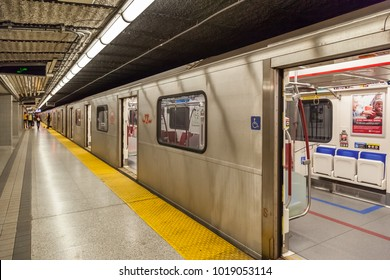 TORONTO, CANADA - OCTOBER 22, 2017: TTC subway train at Finch station. TTC operated by the Toronto Transit Commission.