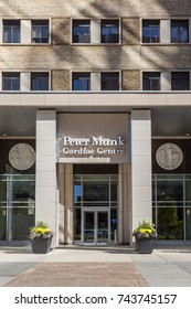 TORONTO, CANADA - OCTOBER 22, 2017: The entrance of Peter Munk Cardiac Center at The Toronto General Hospital, PMCC is a world leader in the treatment of patients with cardiac and vascular disease.