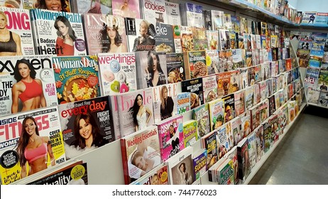 TORONTO, CANADA - OCTOBER 22, 2017: Magazines and newspapers at a local supermarket in Toronto, Canada.