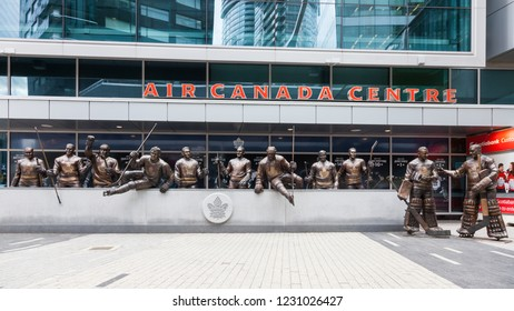 TORONTO, CANADA - OCTOBER 26:  Statues of Toronto Maple Leafs ice hockey players pictured outside the Air Canada Centre on October 26, 2018.  The center has since been renamed the Scotiabank Arena.