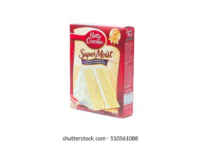 TORONTO, CANADA - OCTOBER 28, 2016 : Betty Crocker Cake Mix super moist product on a white background in an illustrative editorial image