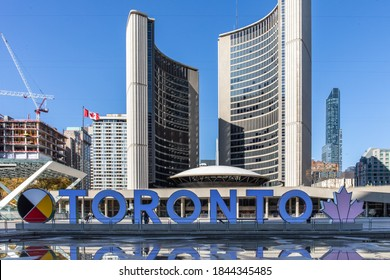 Toronto, Canada, October 28, 2020; The new. 202 version of the iconic Toronto sign at Toronto City Hall
