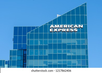 Toronto, Canada - October 29, 2018: Sign of American Express on the building at North York in Toronto. The American Express Company is an American multinational financial services corporation.