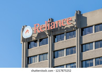 Toronto, Canada - October 29, 2018: Sign of Reliance Home Comfort on the headquarters building in Toronto, the furnaces, air conditioners, water heaters, HVAC, plumbing services in GTA.