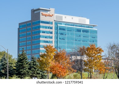 Toronto, Canada - October 30, 2018: Tangerine headquarters building in Toronto. Tangerine is a Canadian direct bank and a subsidiary of Scotiabank.