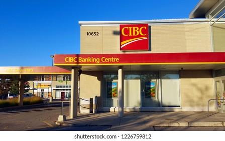 TORONTO, CANADA - OCTOBER 30, 2018: The exterior of a CIBC bank branch in Toronto, Canada.