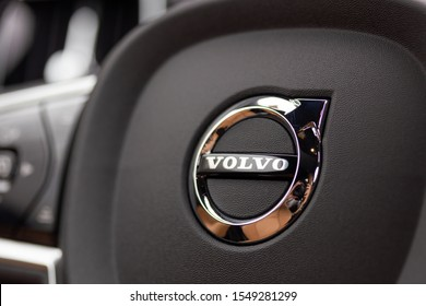 TORONTO, CANADA - October 30, 2019: Close-up of the Volvo logo / emblem at the centre of a steering wheel in a new Volvo car.