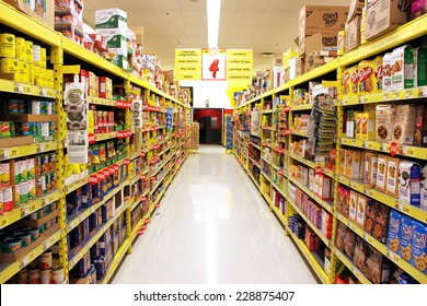 TORONTO, CANADA - OCTOBER 31, 2014: No Frills grocery store on 31 October 2014 in Toronto, Canada. No Frills is a chain of deep discount supermarkets in Canada, owned by Loblaw Companies Limited.