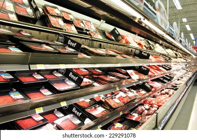 TORONTO, CANADA - OCTOBER 31, 2014: Meat and poultry products in a supermarket. Meat industry is the largest sector of the North America food manufacturing industry.