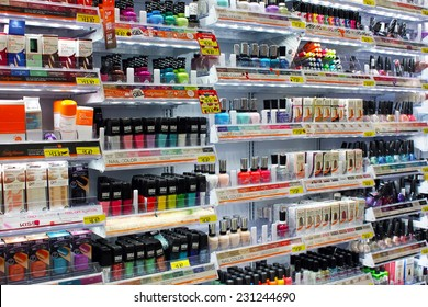 TORONTO, CANADA - OCTOBER 31, 2014: Variety of nail colors  on display in a department store. Nail care is one of the strongest categories of cosmetic products industry.