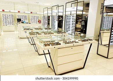 TORONTO, CANADA - OCTOBER 31, 2014: Selection of designer eyewear and sunglasses in an optician store on October 31, 2014.