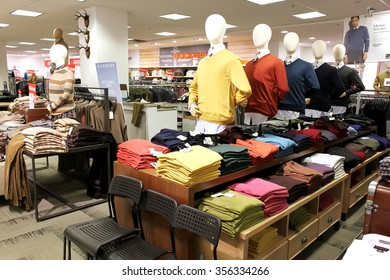 TORONTO, CANADA - OCTOBER 31, 2014: A view of men clothing department in a department retailer store on October 31, 2014.