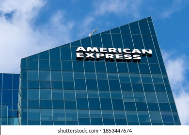 Toronto, Canada - October 31, 2020: American Express Canada Corporate office sign is shown in Toronto. The American Express Company is an American multinational financial services corporation.